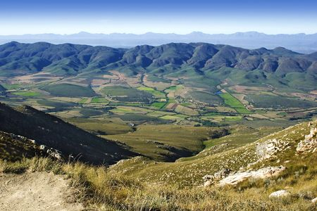 landscape little karoo in South Africa as seen from the top of swartberg pass