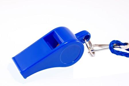 blue whistle isolated on white Stock Photo