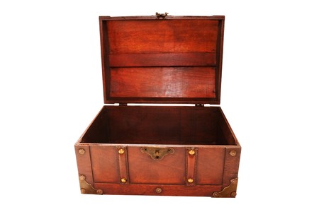 empty wooden open treasure chest isolated on white Stock Photo