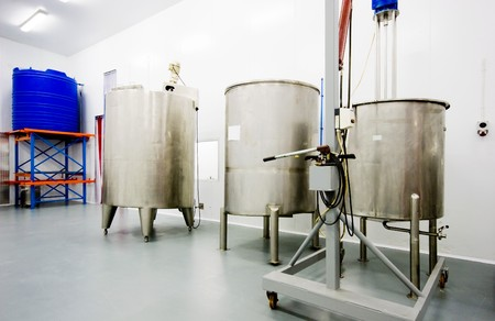 aseptic: stainless steel tanks holding raw materials for manufacturing of pharmaceuticals Stock Photo