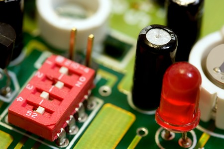 closeup of some electronic components inside a security system and burglar alarm device Stock Photo - 4367969