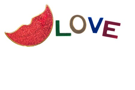 luscious: white card with luscious red glitter lips and love spelt out in glitter letters Stock Photo