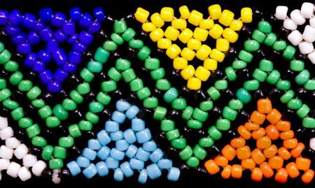 closeup of african beadwork in triangular geometric pattern Stock Photo