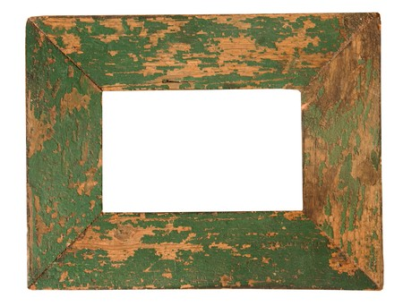 empty old green weathered picture frame isolated on white Stock Photo