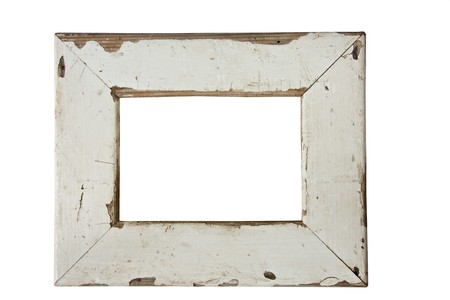 empty old weathered picture frame isolated on white photo