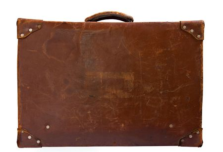 old leather suitcase isolated on white,side view