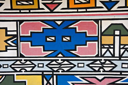 close-up of the traditional way in which the Ndebele tribe of South Africa paint their houses Stok Fotoğraf