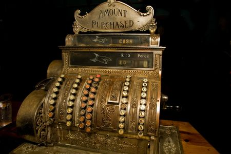 old cash register with currency in pounds Standard-Bild