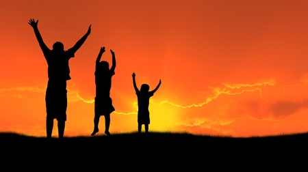three children jumping for joy silhouetted sunset photo