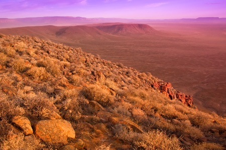 view over the dry karoo landscape in south africa
