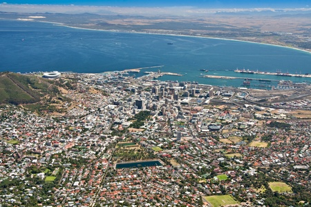 aerial view of city of Cape Town as seen from table mountain with table bay and harbor photo