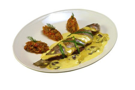 Fried trout with the vegetables