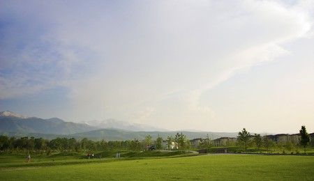 Golf is club with the view of the mountains
