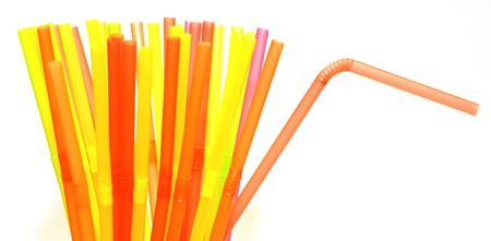 Colored plastic small tubes for the the cocktail Stock Photo - 4040108