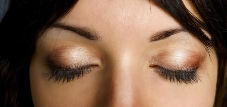 Brown girl eye - question Stock Photo