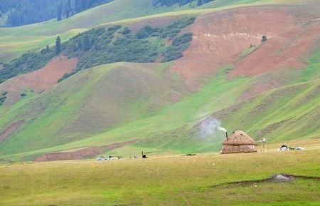 kazakh: The Kazakh dwelling in mountains Yurta Stock Photo