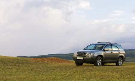 Off-road car highly in mountains in Almaty area photo