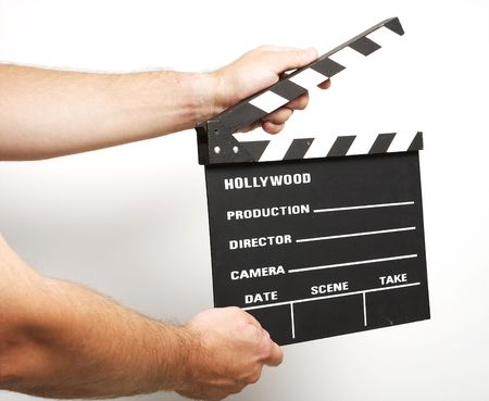 A movie production clapstick board.