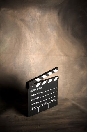 film shooting: A movie production clapstick board.