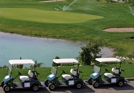 The car for transportation of people playing a golf