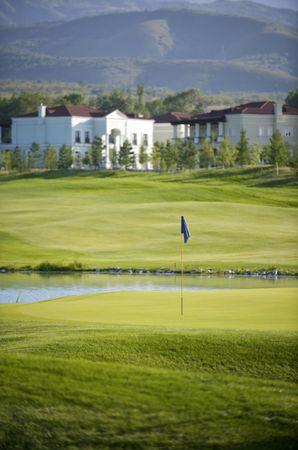 Fine golf club in foothills of Zailiyskiy Alatau Stock Photo