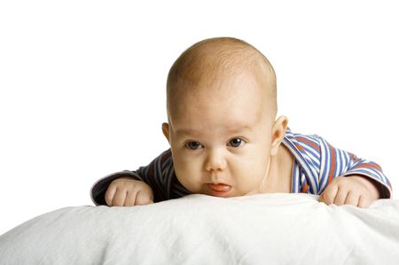 The boy at the age of 3 months on a white background Stock Photo - 6013191