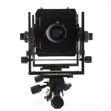 Large format camera front taken from the side. photo