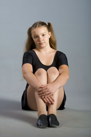 sport style girl in black swimsuit photo