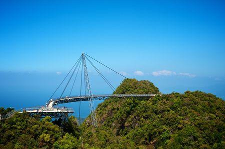 cable bridge: The bridge is a viewing platform. View point. Langkawi island.