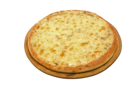 Pizza and italian kitchen. Studio. Close-up on white background.  photo