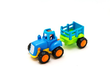 Colorful toy truck isolated on white background photo
