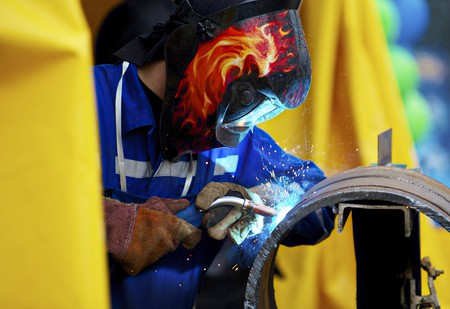 Welding pipe for a pipe stand Stock Photo