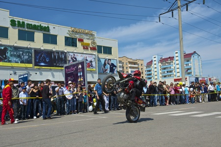 Almaty - MAY 1: Show sports bikers in honor of May, 1st on the area before a supermarket on May 1, 2011 in Almaty, Kazakhstan. Stock Photo - 9556254