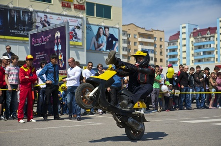 Almaty - MAY 1: Show sports bikers in honor of May, 1st on the area before a supermarket on May 1, 2011 in Almaty, Kazakhstan. Stock Photo - 9556259