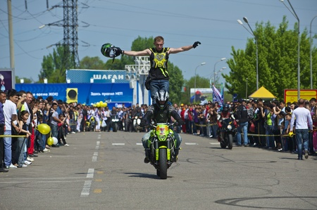 Almaty - MAY 1: Show sports bikers in honor of May, 1st on the area before a supermarket on May 1, 2011 in Almaty, Kazakhstan.