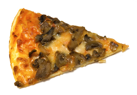 objects: Fresh piece of pizza with the funghi Stock Photo