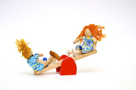 small town life: A series, life of wooden toys, childrens small town for a dolls Stock Photo