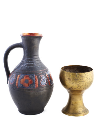 goblet: Ancient style wine goblet and jug