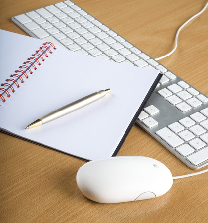 aluminum: Modern aluminum computer keyboards, mouse and notebook