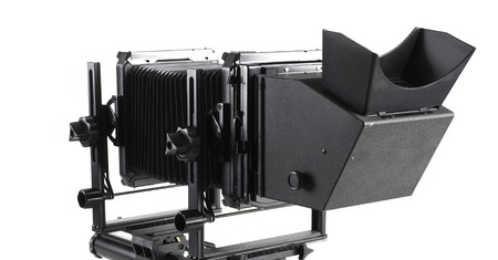 format: Large format camera front taken from the side.