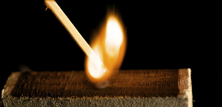 match box: The wooden match is lighted from a box