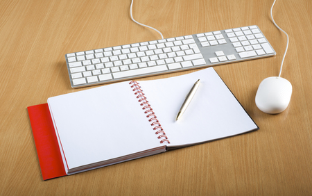 notebook computer: Modern aluminum computer keyboards, mouse and notebook