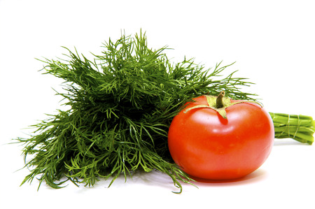 juicy: Ripe tomato with juicy fennel Stock Photo