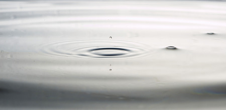 fluidity: The round transparent drop of water, falls downwards