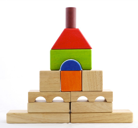 wood blocks: Wooden toy blocks on white background Stock Photo