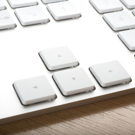 put the key: Modern aluminum computer keyboards for computer Stock Photo