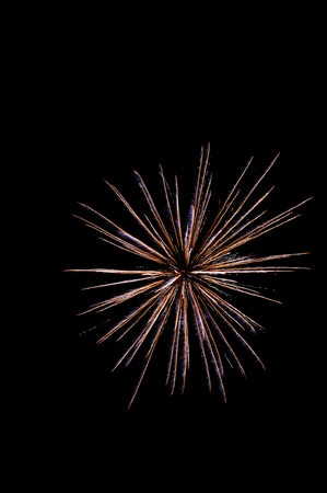 glow in the dark: Fireworks in the night sky Stock Photo