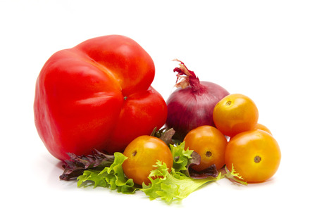mouthwatering: Tomato, onion, capsicum and salat. Stock Photo