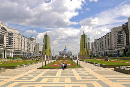 casa blanca: white house; presedent house, kazakhstan; astana; building; city; Editorial