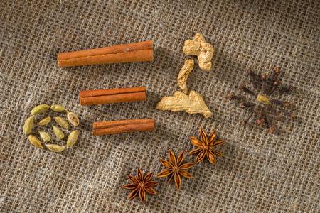 hristmas: Сhristmas decoration: anise stars, orange slices, cinnamon and cloves